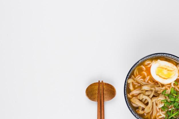 Top view of ramen bowl Free Photo