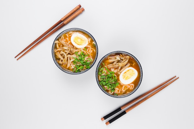 Top view of ramen bowls Premium Photo
