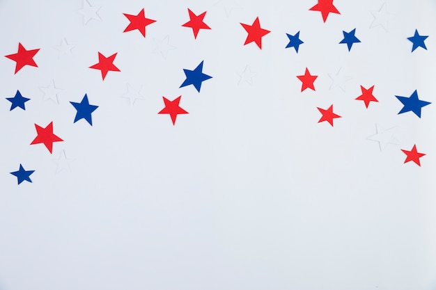 Top view of red, blue, white stars Free Photo