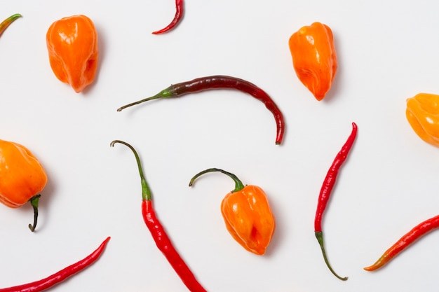 Top view red hot chili peppers with white background Free Photo