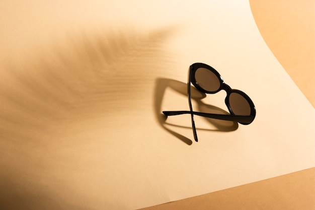 Top view retro sunglasses with shadow Free Photo