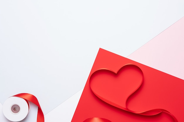 Top view of ribbon shaped as heart, valentine's day concept Premium Photo