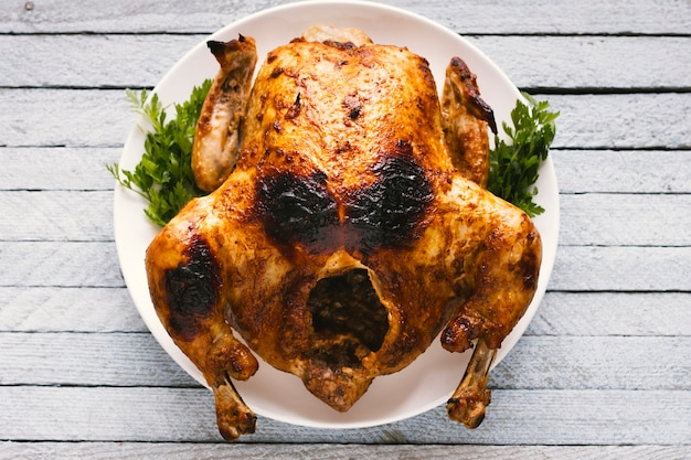 Top view roasted chicken Free Photo