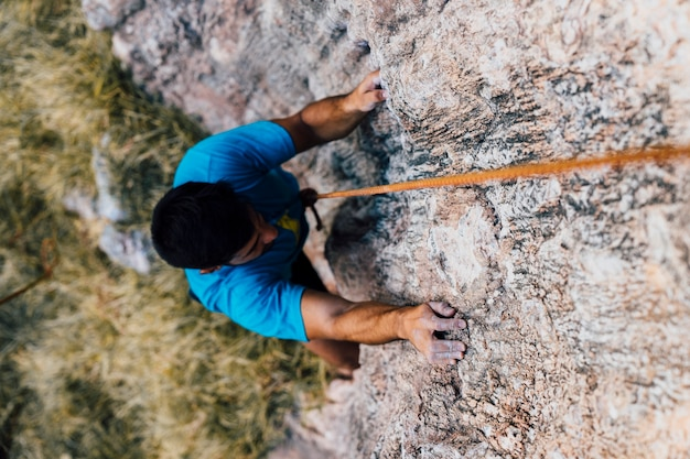 Top view of rock climber Free Photo