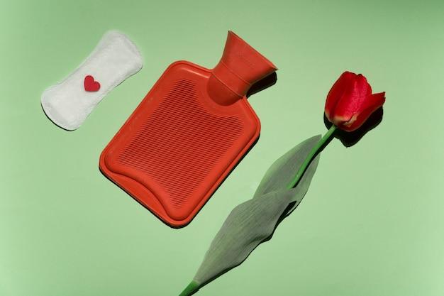 Top view rose, hot water bag and sanitary towel Free Photo