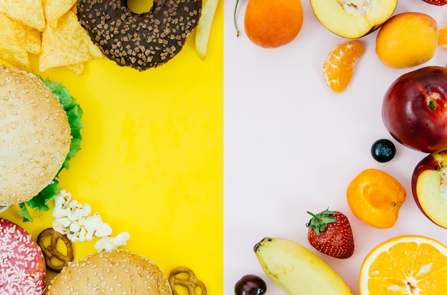 Top view rounded food frame Free Photo