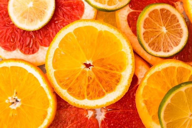 Top view salad of fresh citrus fruits Free Photo