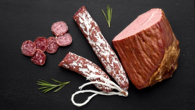 Top view salami and fillet meat Free Photo