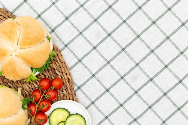 Top view of sandwiches with tomatoes and copy space Free Photo