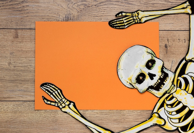 Top view scary halloween skeleton Free Photo