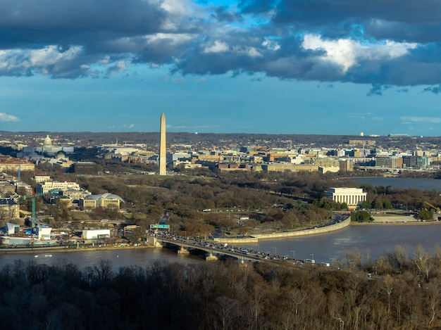Top view scene of washington dc down town which can see united states capitol, washington monument Premium Photo