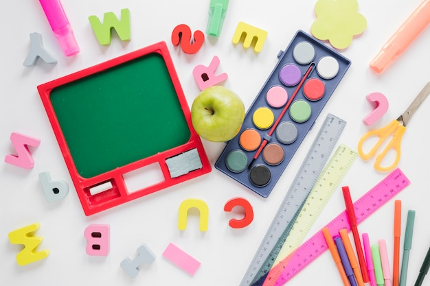 Top view of school supplies Free Photo