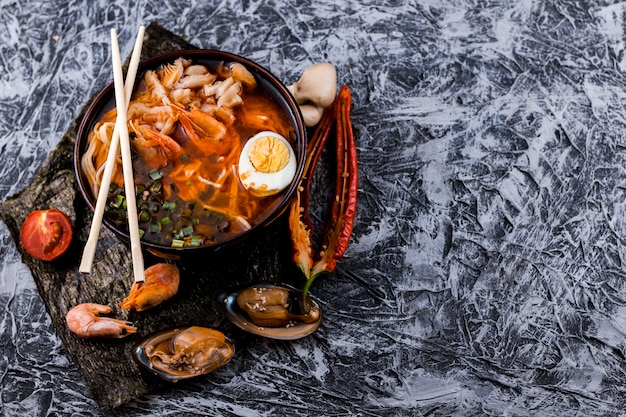Top view seafood ramen with copy space Free Photo
