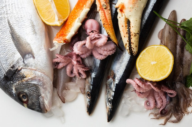 Top view seafood with lemon Free Photo