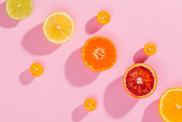Top view selection of fresh fruits on the table Free Photo