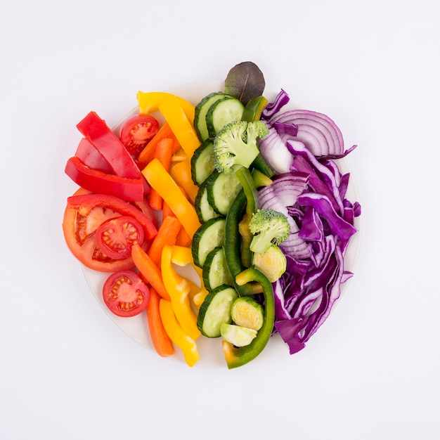Top view selection of fresh vegetables on the table Free Photo