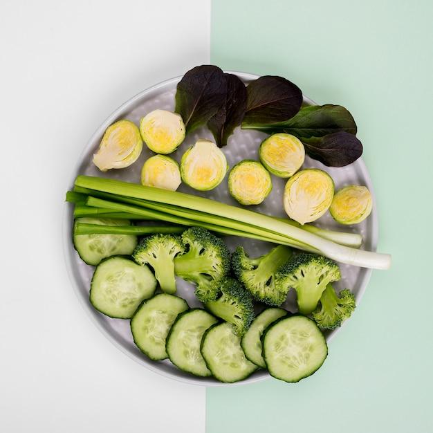 オーガニック野菜のトップビューセレクション 無料写真