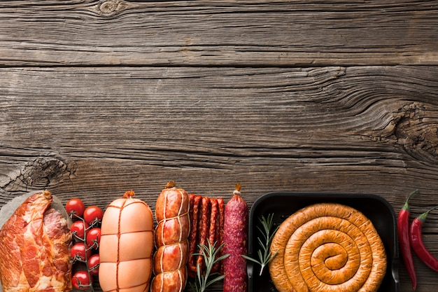 Top view selection of pork meat with copy space Free Photo