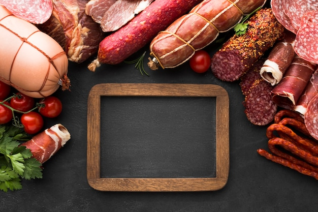 Top view selection of tasty meat on the table Free Photo