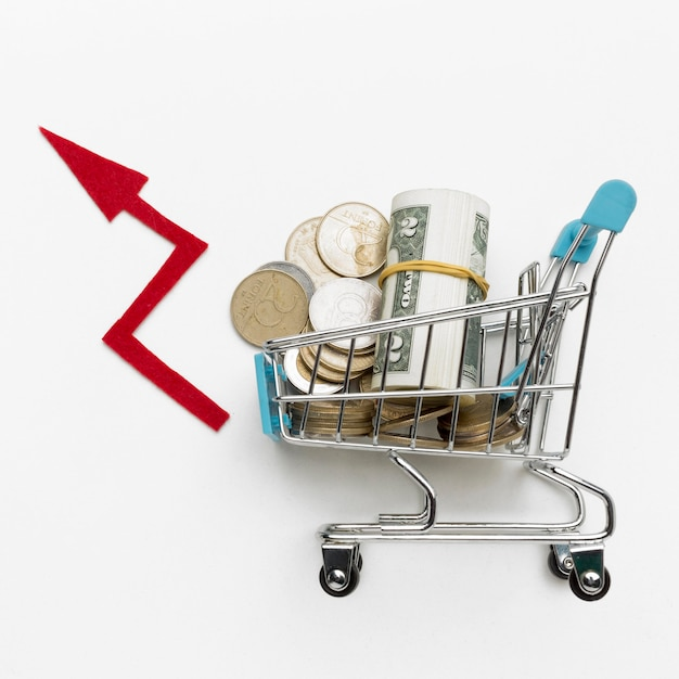Top view shopping cart filled with money Free Photo