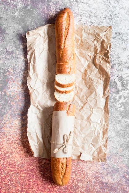 Top view sliced baguette Premium Photo