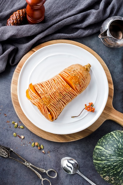 Top view sliced baked squash on plate Free Photo