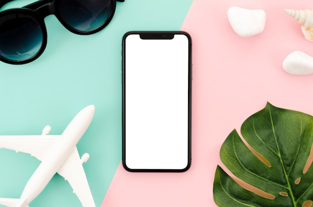 Top view smartphone template over workspace Free Photo