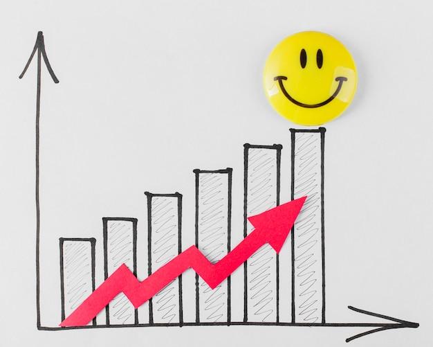 Vista dall'alto di faccina sorridente e grafico di crescita Foto Gratuite