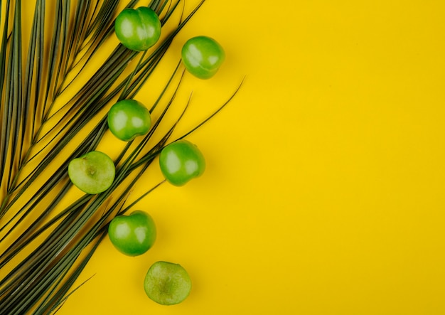 Top view of sour green plums with palm leaf on yellow table with copy space Free Photo