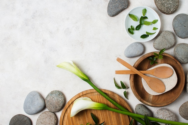 Top view spa arrangement with stones and copy-space Free Photo