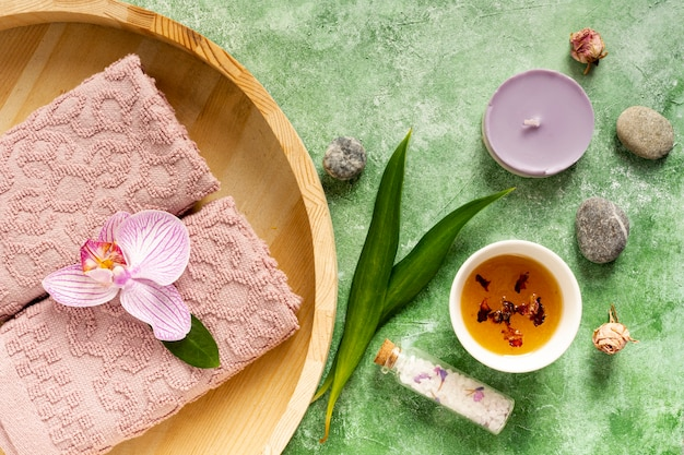Top view spa concept with healthcare products Free Photo