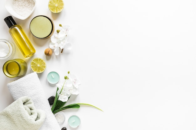 Top view of spa element collection Free Photo