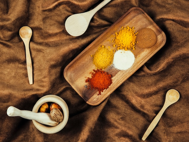 Top view of spices on cloth Free Photo