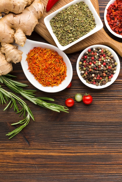 Top view spices powder with copy space Free Photo