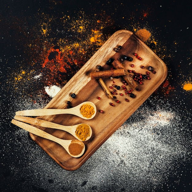 Top view of spices Free Photo
