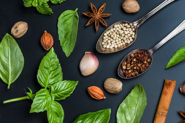 Top view of spoons with seeds Free Photo