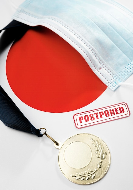 Top view sports event postponed assortment Free Photo