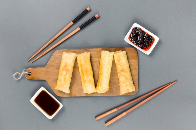 Top view of spring rolls Free Photo