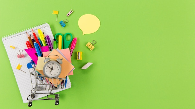 Top view stationery supplies with copy space Premium Photo
