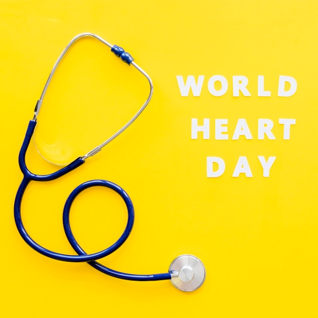 Top view of stethoscope for heart day Free Photo