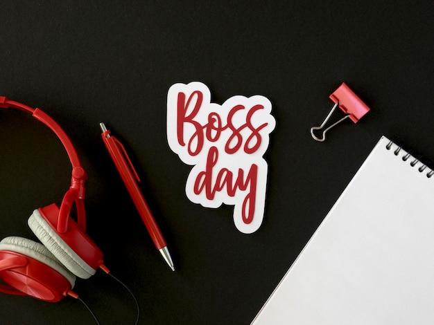 ボスの日デザインのトップビューステッカー 無料写真