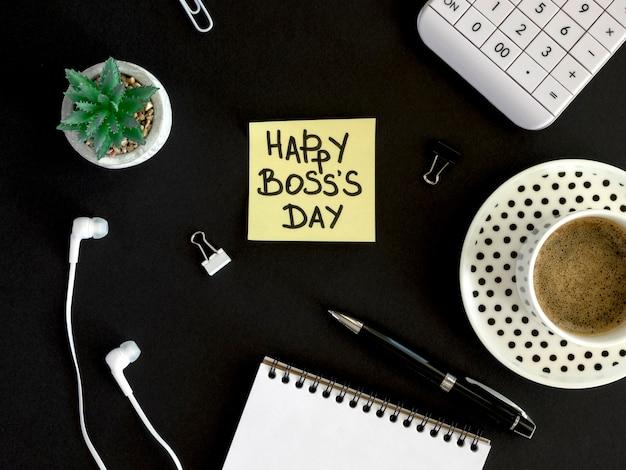 幸せな上司の日とトップビュー付箋 無料写真