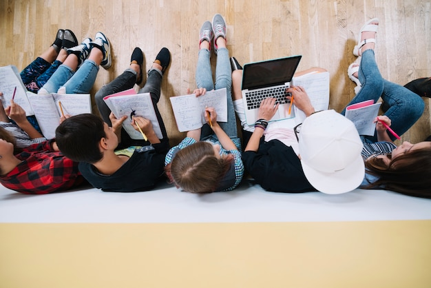 Top view of students coworking Premium Photo