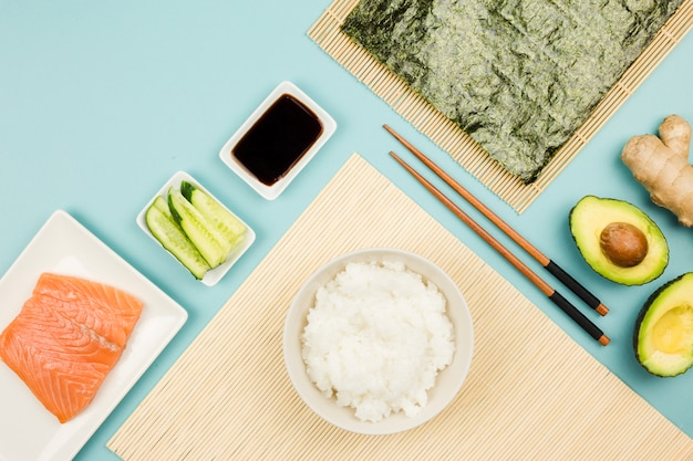 Top view of sushi ingredients Free Photo