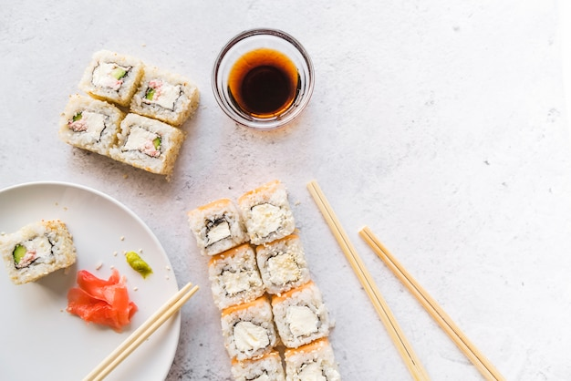 Top view of sushi rolls with copy-space Free Photo