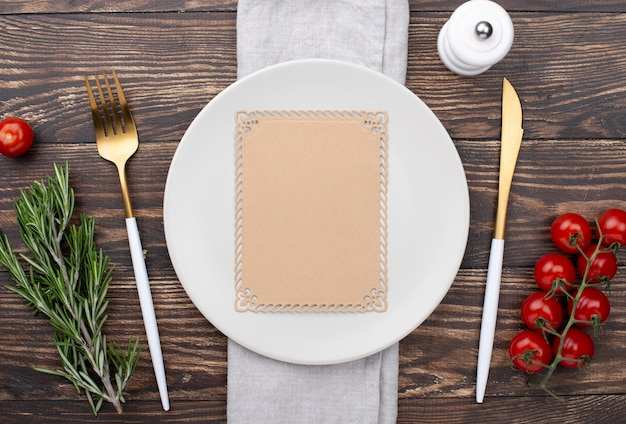 Top view table setting with healthy ingredients Free Photo