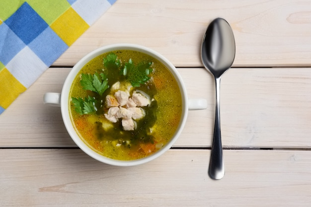 Top view of table with served fish soup Premium Photo