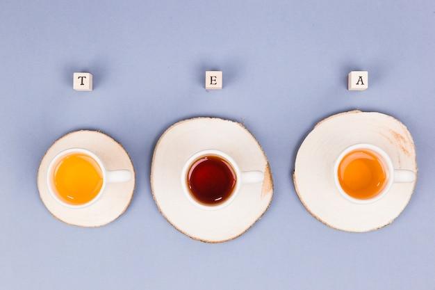 Top view tea cups line Free Photo