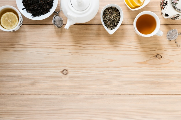 Top view of tea with copy space Free Photo