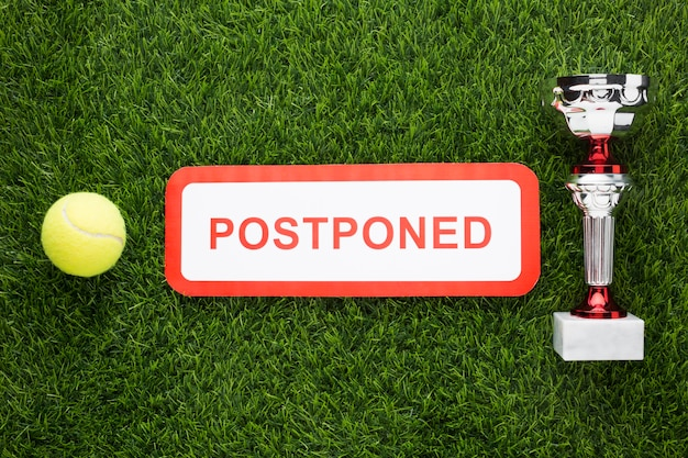 Top view tennis elements arrangement with canceled sign Free Photo